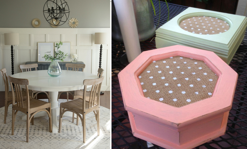 Burlap with polka dot jewelry boxes transitional dining room style