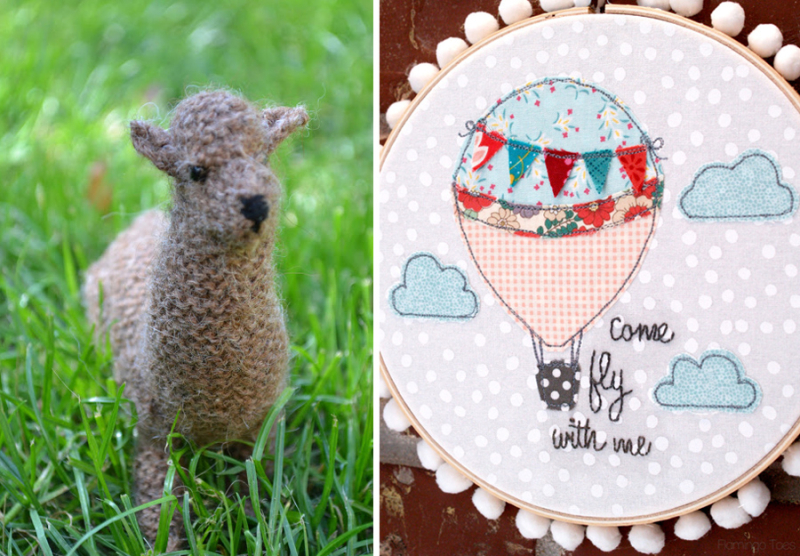Knit llama  hot air balloon embroidery hoop
