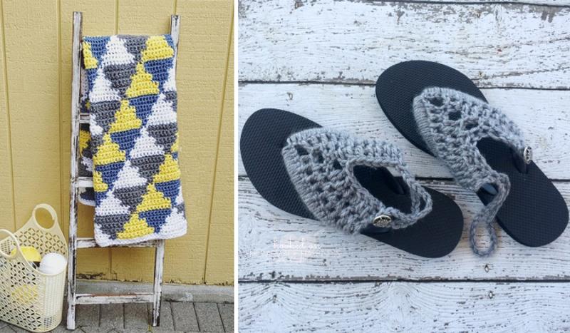 Crocheting over flip flops crocheted triangles blanket