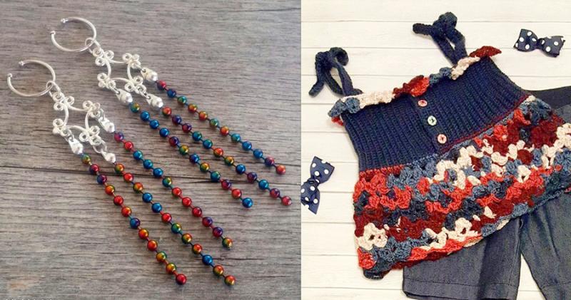 Ball chain earrings  crocheted swing top for kids