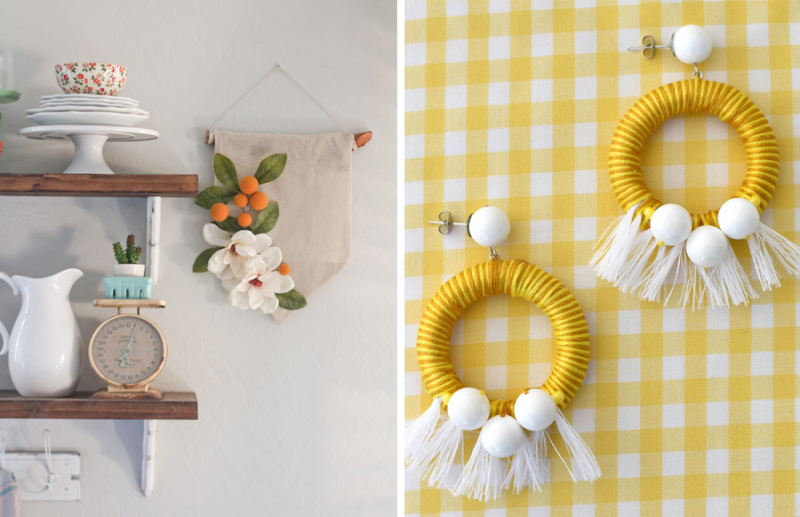 Diy citrus wall hanging summer wooden ring yellow dangle earings