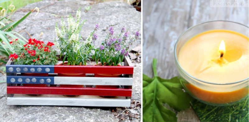DIY citronella candles flag painted plant crate