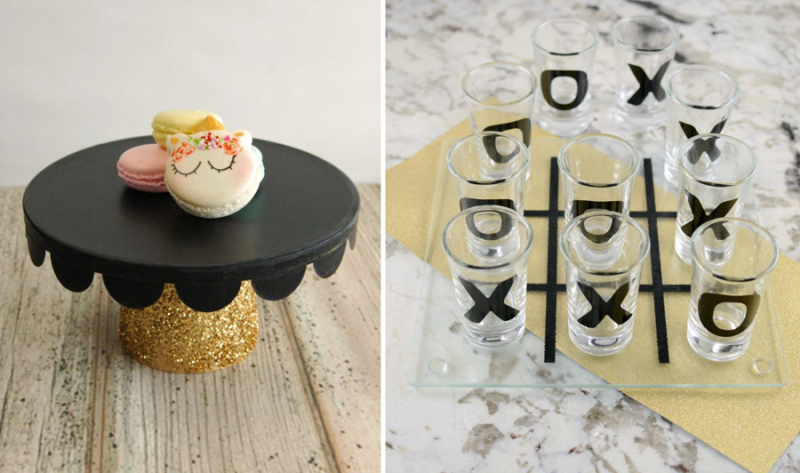 Shot glass tic tac toe black and gold cake stand