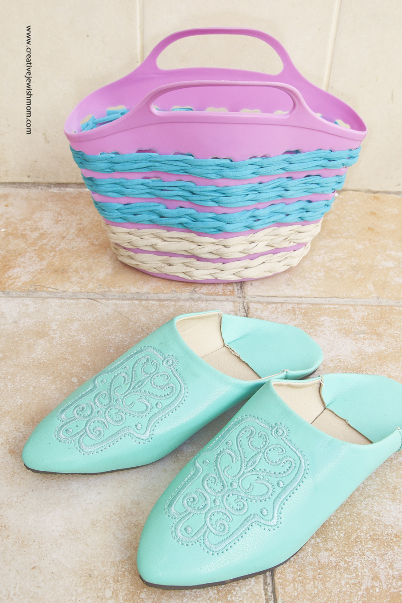 Crocheted Plastic Summer Basket with Moroccan slippers