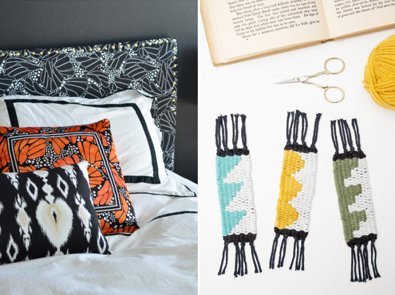DIY woven bookmarks  fabric covered headboard