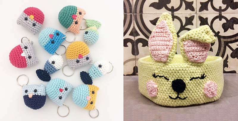 Crocheted owl and fish keychains  crocheted bunny basket