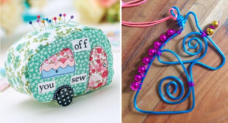 Caravan applique pin cushion wire unicorn necklace