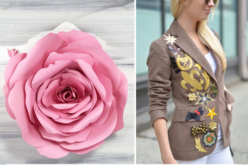 Giant paper rose blazer with patches