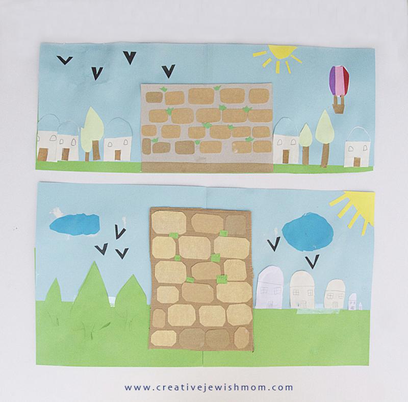 Remember Jerusalem Tissue Paper Jerusalem scene collage on glass
