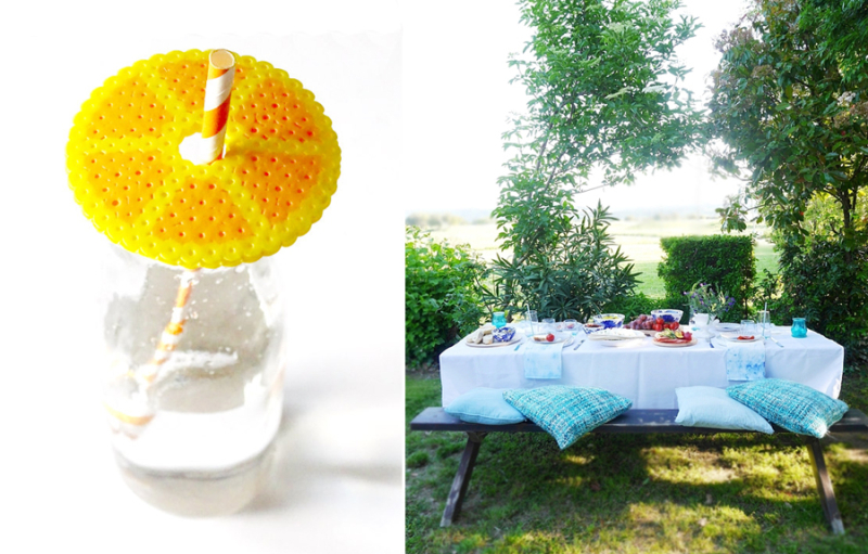 Perler bead citrus drink covers south of France mezze picnic tablescape