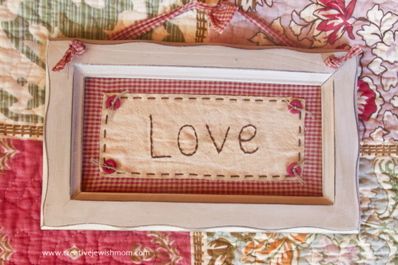Embroidery simple Love fabric collage