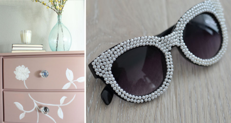 Painted pink dresser pearl covered DIY sunglasses