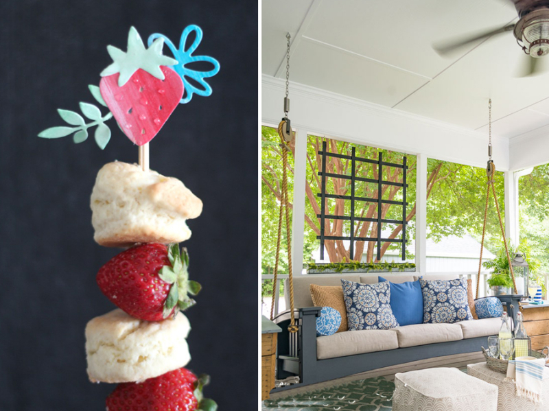 Porch swing strawberry stickers on scones and strawberry skewers