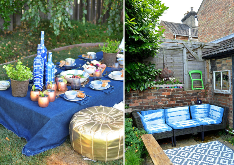 Shibori dyed outdoor cushion covers moroccan picnic with shades of blue