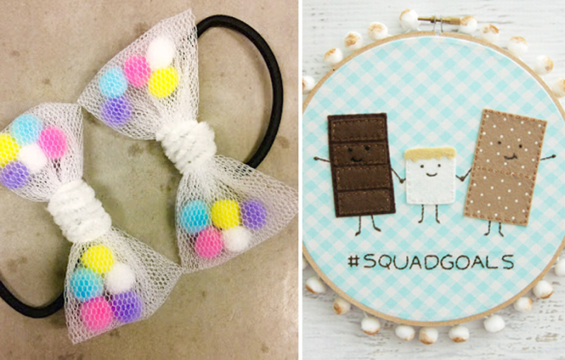 Smores felt applique hoop art net and pom pom bows