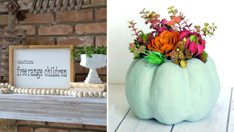 DIY paper mache succulent pumpkin. free range children sign