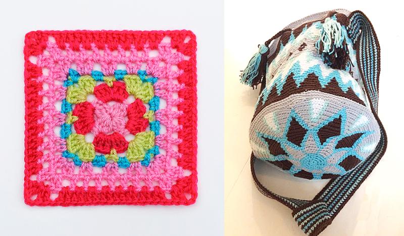 Crocheted mochilla bag crocheted granny with a twist