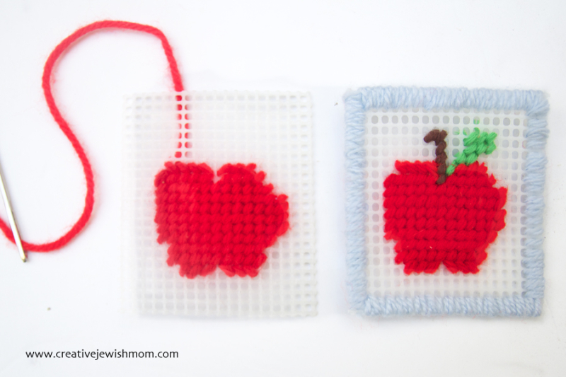 Plastic Canvas needlepoint apple how to