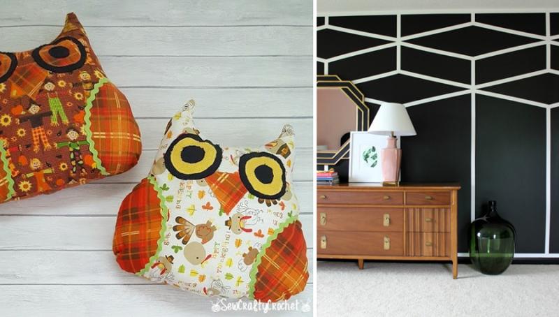 Stuffed scarecrow owl pillows  black geometric wall mural