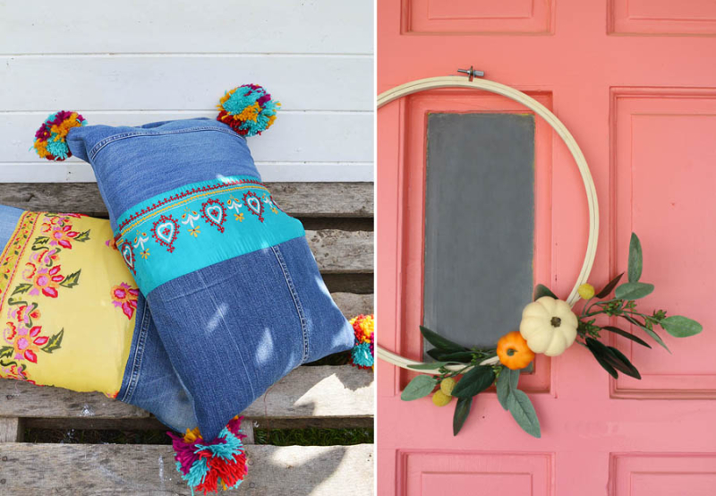 Upcycled jean pillows with tassels embroidery hoop fall wreath