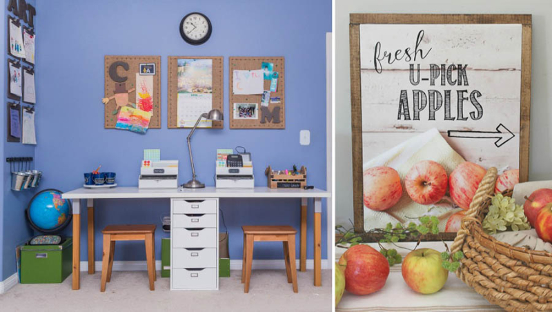 Boy's homework station u-pick apples printable