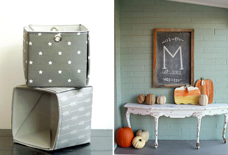 Fall decorating ideas DIY fabric baskets