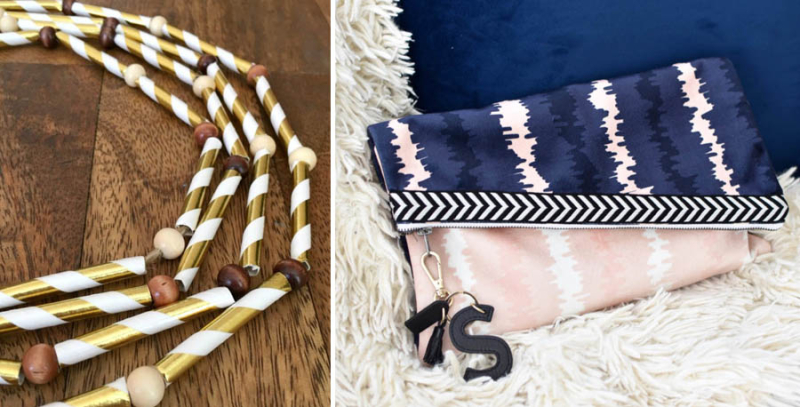Fall garland from straws clutch purse DIY
