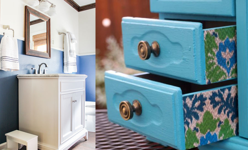 Ikat tissue paper drawers nautical bathroom