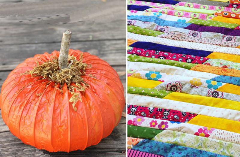Dreyer vent pumpkin jellyroll quilt from scraps