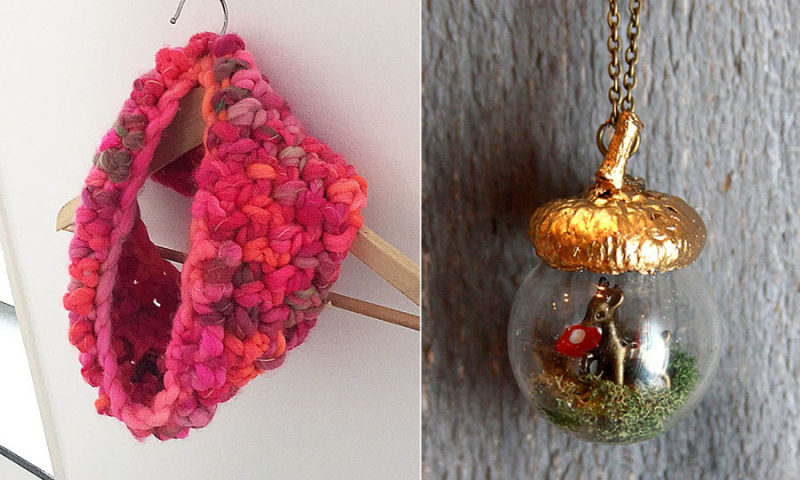 Chunky crocheted cowl glass acorn pendant