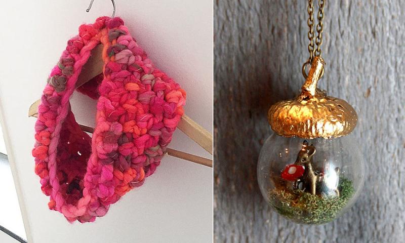 Chunky crocheted cowl glass acorn pendant