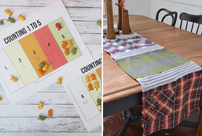 Table runner from sweaters and flannel shirts  learn to count with fish crackers