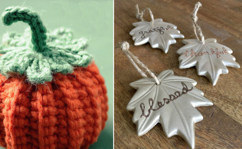 Crocheted amigurumi pumpkin fall leaf ornaments