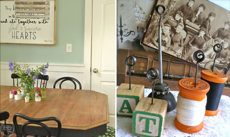 How to refinish dining room table photo holders from spools and baby blocks
