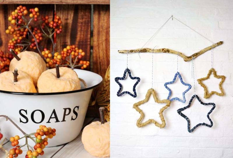 Rustic fabric wrapped stars pumpkin shaped soap