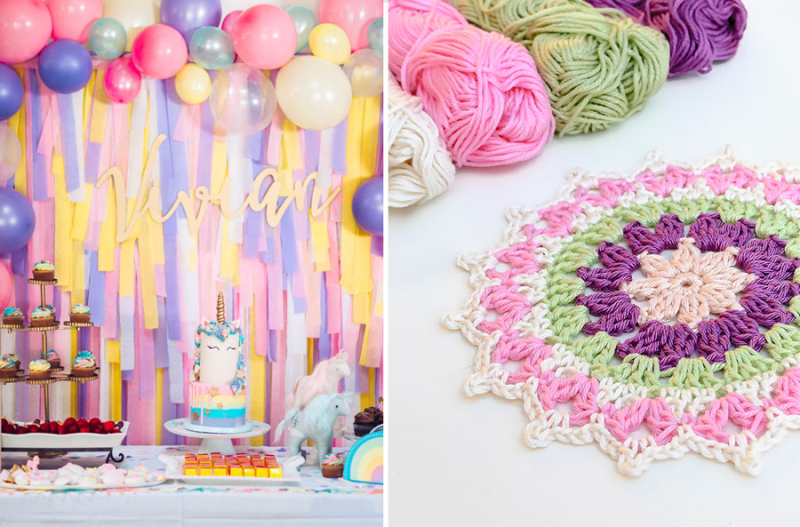 Unicorn birthday backdrop crocheted mandala
