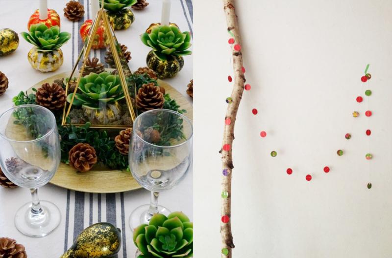 Succulent terrarium centerpiece magazine page holiday garland