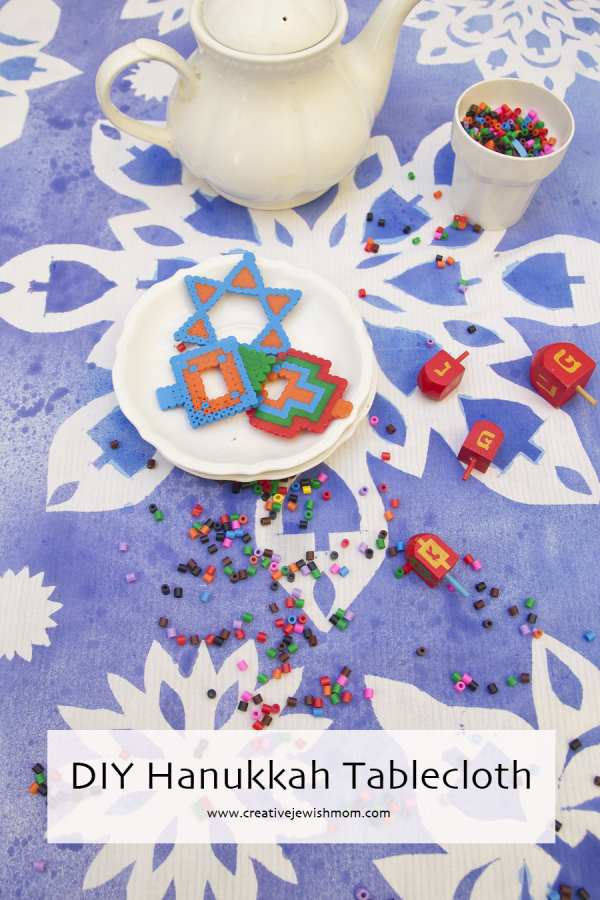 Diy Hanukkah Tablecloth Giant Blue And White Stenciled