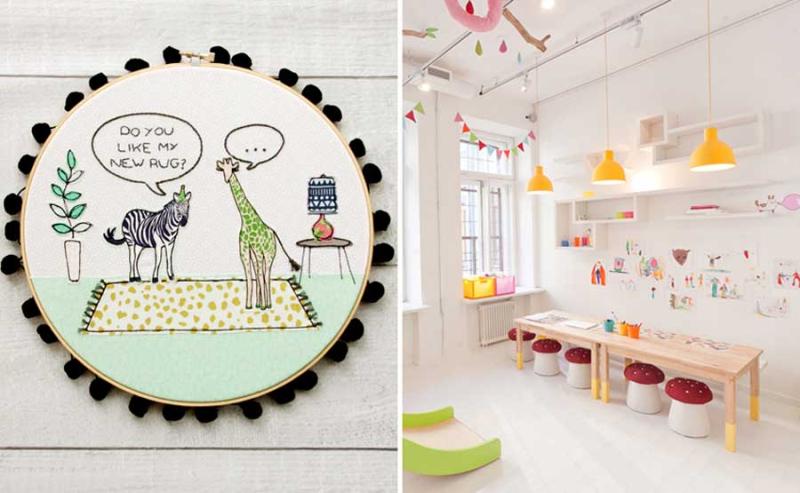 Safara animal emboirdery hoop kid's playroom