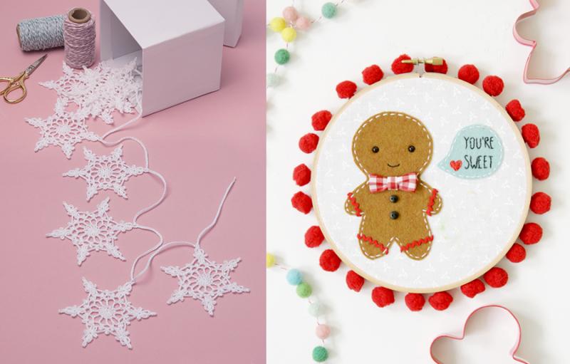 Crocheted snowflake pattern felt gingerbread hoop art