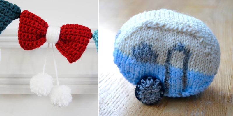 Crocheted bow garland knit camper