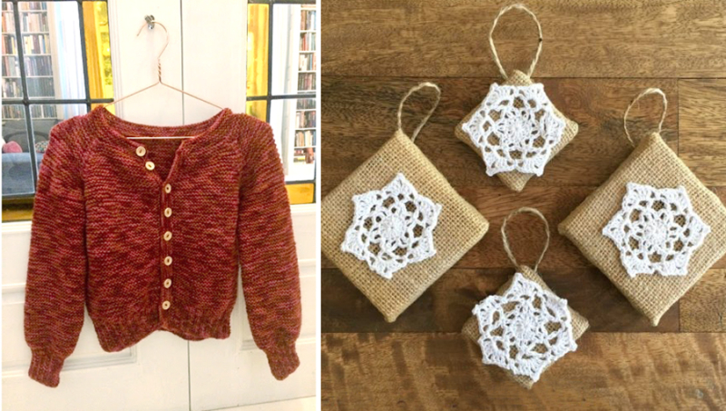 Crocheted star and burlap ornaments  knit sweater