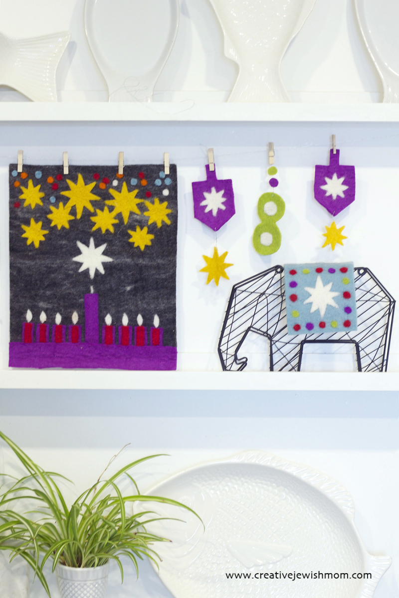 Hanukkah Felt Wall Hanging And Dreidel Garland