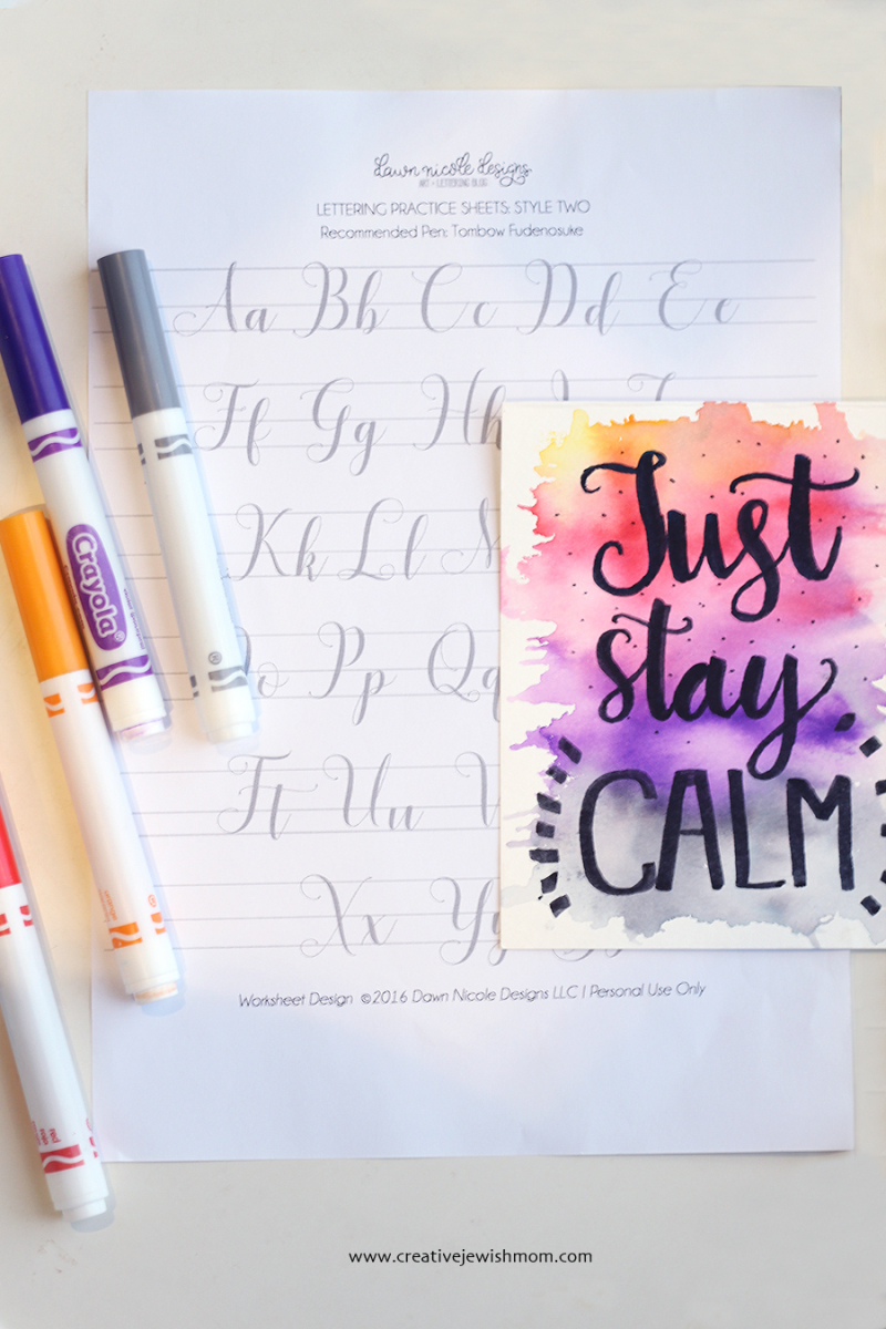 Crayola Calligraphy With Font sheet
