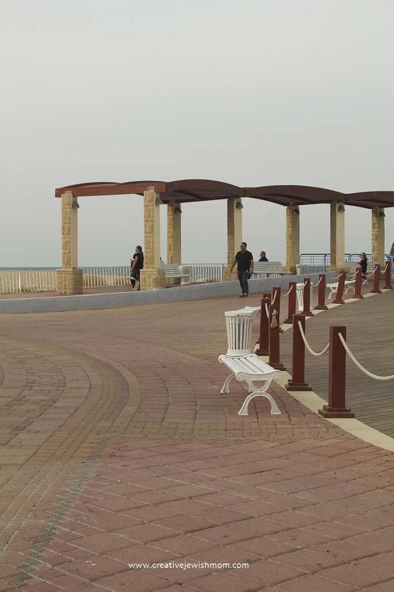 Nahariya Boardwalk with bench