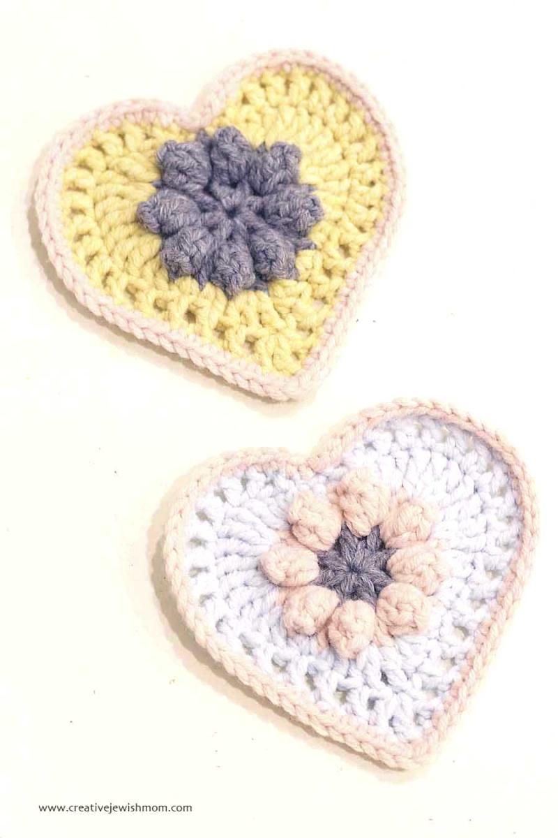 Crocheted Cherry blossom hearts