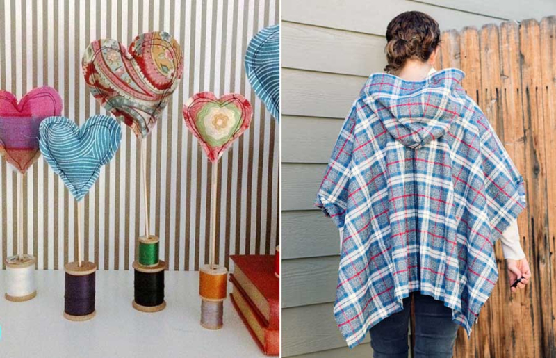 Simple plaid poncho with hood  stuffed fabric hearts