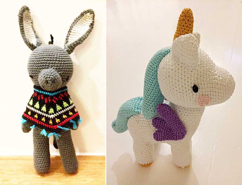 Crocheted Unicorn doll  crocheted donkey with poncho