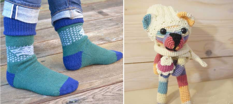 Knit socks amigurimi striped bear