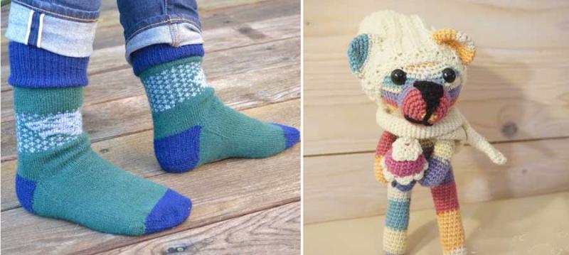 Knit socks amigurimi striped bear